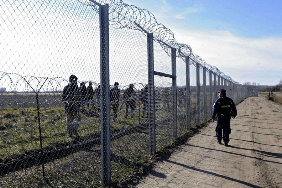 Забор с колючей проволокой на венгерской границе
