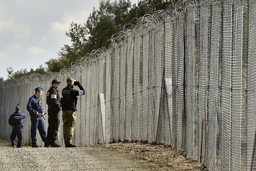 Забор с колючей проволокой в Венгрии на границе