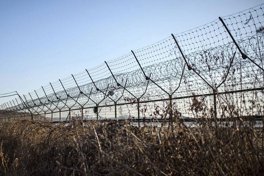 Колючая проволока на границе Северной и Южной Кореи