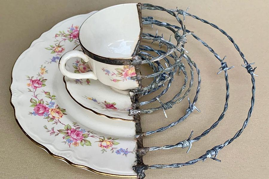 Проволока колючая и фарфоровая посуда