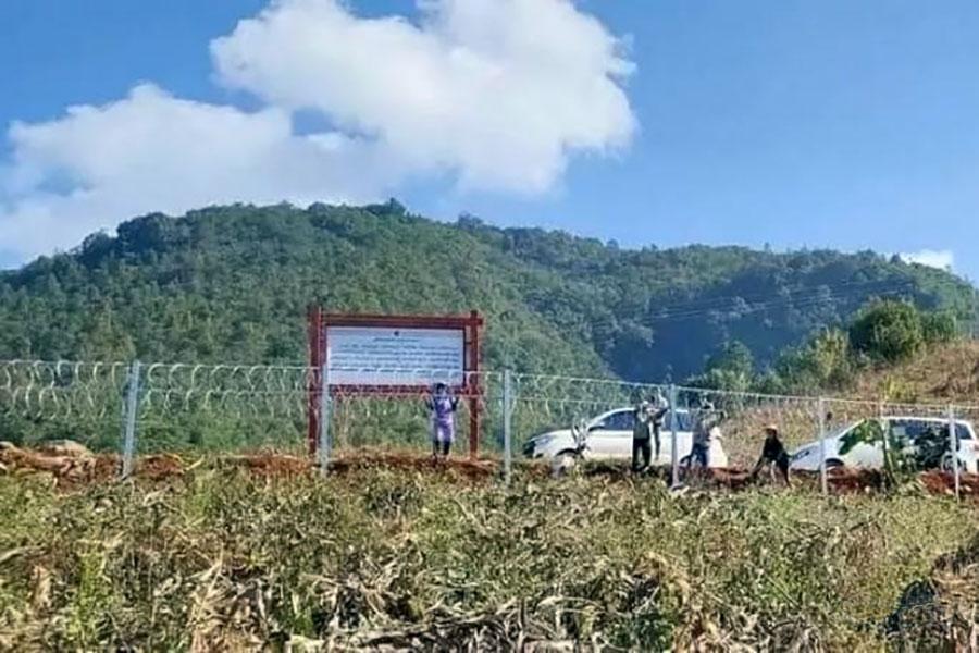 Колючая проволока на границе Китая и Мьянмы