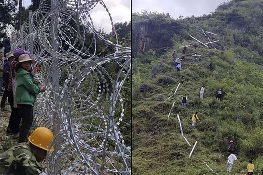Забор из колючей проволоки на границе Китая с Вьетнамом