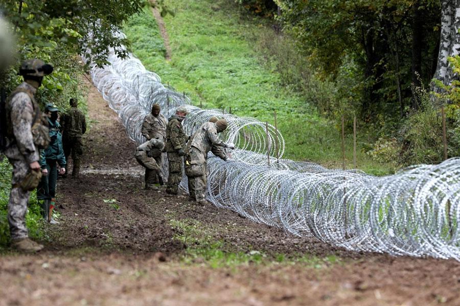 Забор из колючей проволоки на границе Латвии и Беларуси